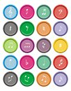Music note round icon sets Royalty Free Stock Photo