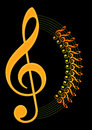 Music note with round lined notes in dark background designed by illustrate Stock Photo