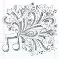 Music note sketchy notebook doodle vector illustra back to school doodles with notes and swirls hand drawn illustration design Royalty Free Stock Images