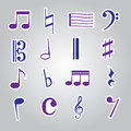 Music note stickers icon set eps blue Stock Photos