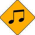 Music note on a street sign Royalty Free Stock Photos