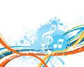 Music notes on a abstract colorful background with splash Stock Photo