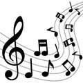Music notes background with musical on white Royalty Free Stock Image