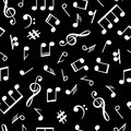 Music notes black pattern. Musical note signs old style background for vintage lp vector illustration