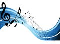 Music notes on blue wave Stock Photo