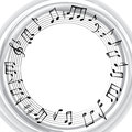 Music notes border. Musical background. Music round shape frame