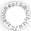 Music notes border. Musical background. Music style round shape