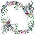 Music notes composition, musical theme background, vector illust Royalty Free Stock Photo