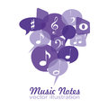 Music notes different on purple text box Royalty Free Stock Images