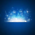 Music notes explosion blue background with lights and bokeh Royalty Free Stock Photo