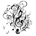 Music Notes Floral Ornament