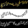 Music notes flow. Doodle music note drawing sheet patterns, vector musical symbols silhouettes modern background Royalty Free Stock Photo