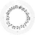 Music notes frame. Musical background.