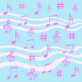 Music notes gift wrap Stock Image