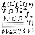 Music notes. Musical note key silhouette, treble clef sound melody art vector symbols