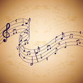Music notes on old paper background.