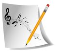 Music notes paper with pencil and Stock Image