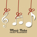 Music notes with red ribbon on light yellow background Royalty Free Stock Image