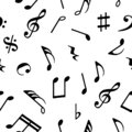 Music notes seamless pattern on white background. Vector illustration