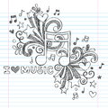 Music notes sketchy doodle vector illustration note i love back to school notebook doodles hand drawn design elements on lined Stock Photography