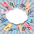 Music notes with speech bubble vector illustration of Royalty Free Stock Photo