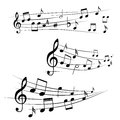 Music notes on stave various illustration Stock Photography