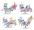 Music notes on staves set of vector abstract theme symbols for design Royalty Free Stock Images