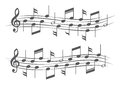 Music notes on staves white background Royalty Free Stock Photos