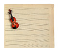 Music notes and violin paper isolated on a white background Royalty Free Stock Images