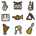 Music object icon set vector Stock Photos