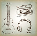 Music old over vintage background vector illustration Royalty Free Stock Photo