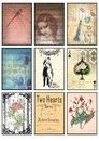 Music and old paper tags vintage collage set of nine cards music notes rose love dragonfly Paris amour floral hearts