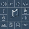 Music outline icons set. Linear vector illustration