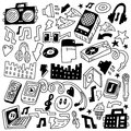 Music party doodles set icons in sketch style Stock Photography