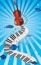 Music piano violin swirl card Royalty Free Stock Photo