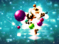 Music poser with colorful balls abstract musical and d girl Royalty Free Stock Photos