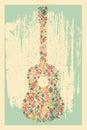 Music poster концепция гитары с е анная из фо ьк орного орнамента также Стоковое Изображение