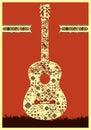 Music poster gitarrbegrepp som göras av folkprydnaden också vektor för coreldrawillustration Royaltyfri Fotografi