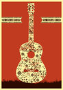 Music poster. Guitar concept made of folk ornament. Vector illustration. Royalty Free Stock Photo