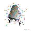 Music poster - Piano with confetti / Music Background