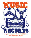 Music records and sound illustration clip art for entertaiment and party Stock Image