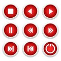Music red buttons set for design Royalty Free Stock Photo