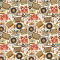 Music retro seamless pattern Royalty Free Stock Photo
