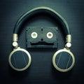 Music Robot Headphone Vintage Tone Royalty Free Stock Photo