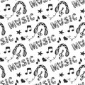 Music seamless pattern with hand drawn headphones and doodle lettering Music. Vector illustration with melody music print.