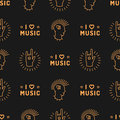 Music seamless pattern Punk Mohawk Hand Rock N Roll Sign