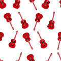 Music seamless pattern with red classic guitars vector illustration