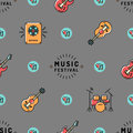 Music seamless pattern, Rock festival design Royalty Free Stock Photo