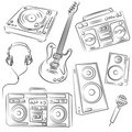 Music Set Sketch Royalty Free Stock Photography