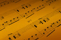 Music sheet detail warm color jazz photo Royalty Free Stock Photos